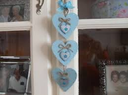 duck egg blue silver wooden hanging decoration ornament
