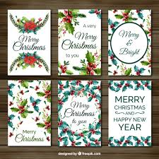 set of christmas cards with watercolor mistletoe vector free