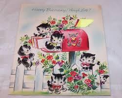fuzzy kitten belated birthday card vintage unused art guild of