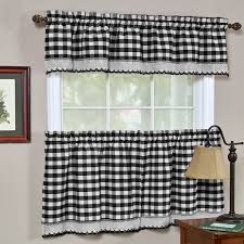 Black Check Curtains Achim Home Furnishings Buffalo Check Kitchen Curtain