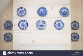 spode plates in an manor house from the blue room stock
