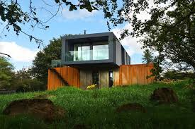 winsome container homes design showing brown and bright wall
