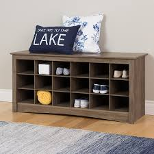amazon com prepac 18 cubby shoe storage bench in drifted gray