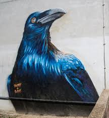 it s wild in london street artists brighten up capital with huge this enormous raven has also been etched on to the wall of an east london building