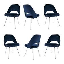 saarinen executive armless chairs in navy velvet s 6 chairish