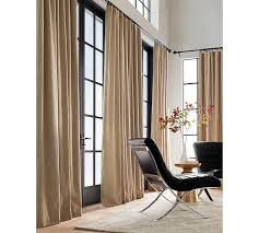 Brown Blackout Curtains Emery Linen Cotton Pole Pocket Drape Pottery Barn