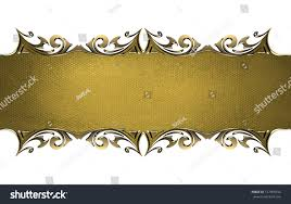 Gold Nameplate Gold Nameplate Gold Ornate Edges Isolated Stock Illustration
