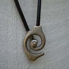 leather necklace pendants images Leather necklace men women unisex silver black tribal pendant jpg