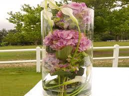 Vase Pour Composition Florale Des Hortensias Multicolores Pour Un Mariage Pastel