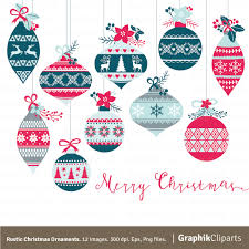 rustic christmas ornaments clipart