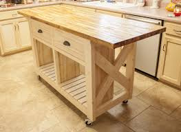 do it yourself natural wooden butcher block kitchen island with