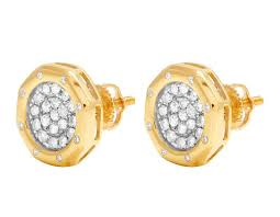 cluster stud earrings real 10k yellow gold genuine diamond octagon cluster stud earrings