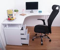 Wood Home Office Corner Desk With Keyboard Desk Design Good