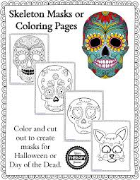 Skeleton Pictures For Halloween Skeleton Masks And Coloring Pages Freebie Your Therapy Source