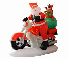 6 5 u0027 inflatable santa claus on motorcycle lighted christmas yard
