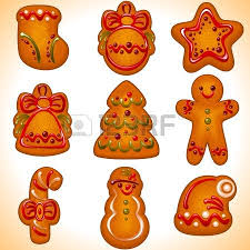 collection of the christmas cookies isolated on white background