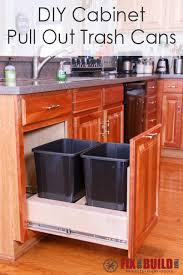trash cans for kitchen cabinets marvelous diy pull out trash can fixthisbuildthat on kitchen cabinet