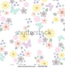 pastel color flower butterfly pattern bright stock vector