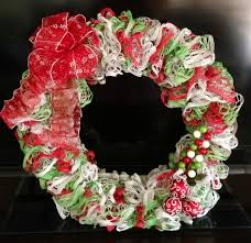 christmas wreath made from 3 skeins of starbella ruffle yarn