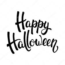 happy halloween brush lettering black letters isolated on white