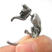 cat stud earrings 3d cat animal pet stud earrings in silver