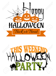 two halloween party designs one saying happy halloween trick