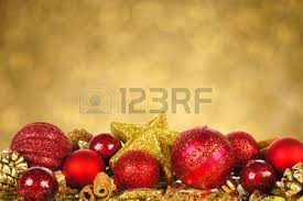 gold and ornament border in snow with twinkling
