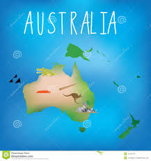 map of australia with cute child friendly icons stock vector