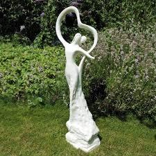 garden with perennials and garden statue decorate