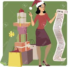 christmas shopping list stressed woman in a santa hat crossing out names from a