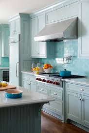Kitchen Pot Filler Faucets Kitchen With Blue Backsplash And Cabinets Also Silver Pot Filler