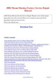 2002 nissan maxima factory service repair manual pdf by linda pong