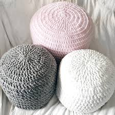 pink grey white hand crochet pillow ottoman pouf footstool