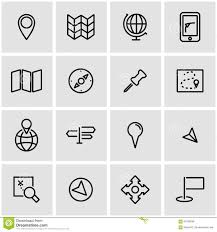 vector line map icon set stock illustration image of compass