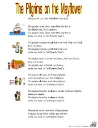 the pilgrims on the mayflower song with printable thanksgiving