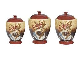 coffee kitchen canisters buy special office products 3 coffee house cafe themed ceramic