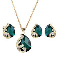 green gem necklace images Faux gem peacock teardrop jewelry set in green jpg