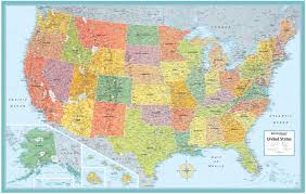 United States Canada Map by M Series United States Laminated 50x32 Rand Mcnally
