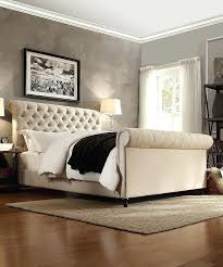 Tufted Sleigh Bed King Upholstered Sleigh Bed King Tufted Linen Sleigh Bed