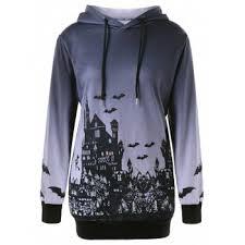 skull and wings print halloween hoodie black xl in sweatshirts
