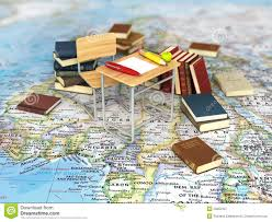 World Map Desk by Chair And Desk With Books On The World Map Stock Photo Image