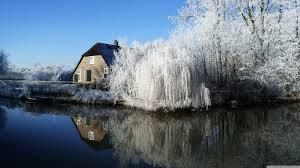 farmhouse and frosty trees 4k hd desktop wallpaper for 4k ultra