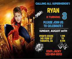 customized spiderman birthday invitations 19 superhero birthday