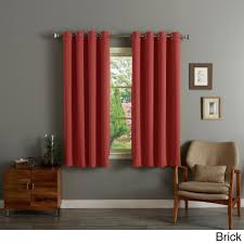 aurora home silver grommet top thermal insulated 63 inch blackout curtain panel pair brick