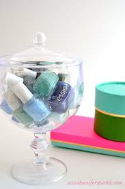 apothecary jars as nail polish storage would look pretty on a
