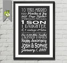 tenth anniversary gifts 10th anniversary gift tenth anniversary gift husband