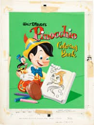 frank mcsavage pinocchio coloring book cover painting original art