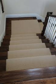 stair cool cherry wood stair with wooden treats and cream wool