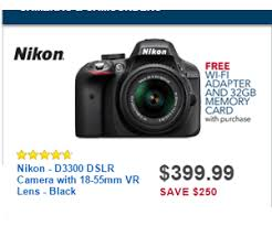 black friday deals on cameras 399 99 nikon d3300 dslr camera with 18 55mm vr lens deal at