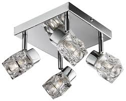 modern chrome ice cube 4 light ip44 bathroom spotlight from lights